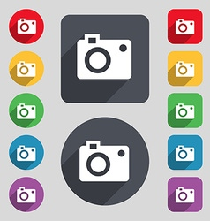 Camera icon sign a set of 12 colored buttons and a vector