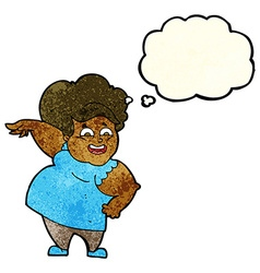 Cartoon overweight woman with thought bubble vector