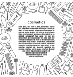 Banner circle make up and cosmetics set vector