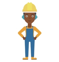 Woman wearing hard hat and headphones vector