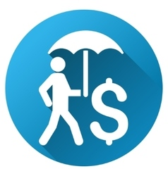 Walling businessman under umbrella gradient round vector