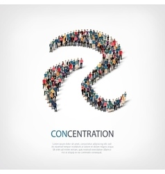 Concentration people sign 3d vector