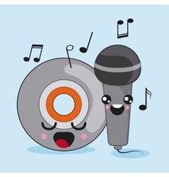 Cd and microphone icon kawaii and technology vector