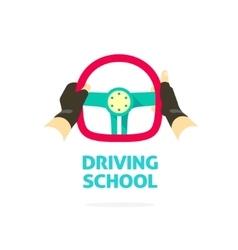 Driving school logo template hands holding vector