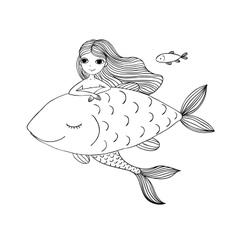 Beautiful little mermaid and big fish siren sea vector