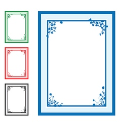 blue floral corners background set vector image vector image