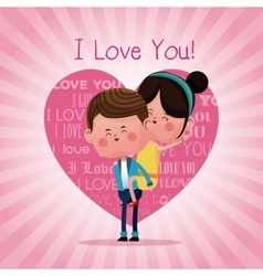 Boy carrying girl funny love vector