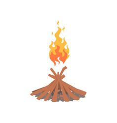 burning bonfire with wood cartoon vector image vector image
