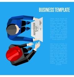 Business template top view of engineer builders vector