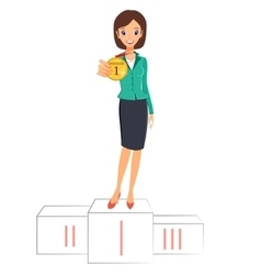 Business woman winner standing on podium with vector image vector image