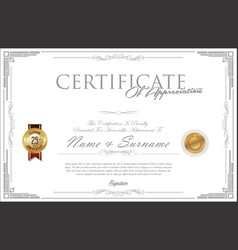 certificate or diploma retro design vector image vector image