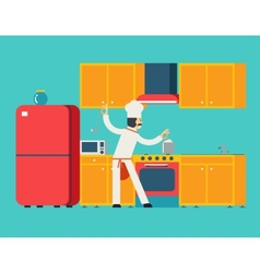 Chief Cook Food Dish Room Kitchen Furniture House vector image vector image
