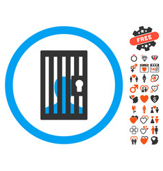 Closed prisoner icon with lovely bonus vector