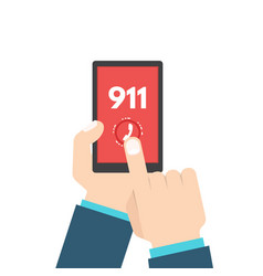 Emergency call 911 call phone in hand vector
