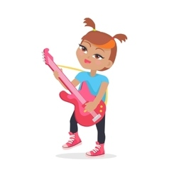 Girl Playing on Guitar Isolated on White Musician vector image