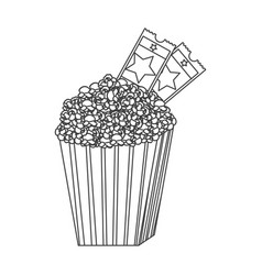 Grayscale contour of popcorn container with movie vector