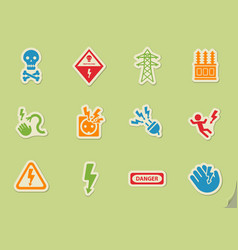 High voltage icon set vector