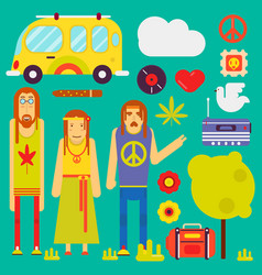 Hippie culture style characters and symbols vector
