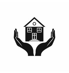House in hands icon simple style vector