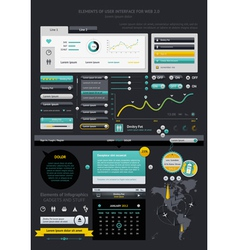 Infographics with buttons and menus vector