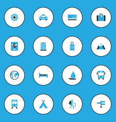 Journey colorful icons set collection of signpost vector