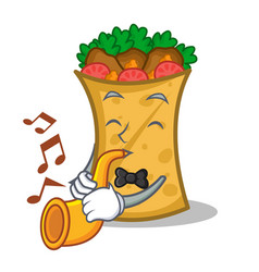 Kebab wrap character cartoon with trumpet vector