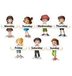 Kids holding cards saying days of the week vector