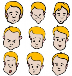little boy emotion cartoon collection vector image