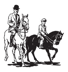 Man and boy riding horses vintage vector