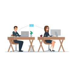 Man and woman at computer monitor Office vector image