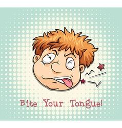 Man face biting tongue vector image