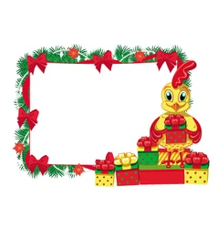 New year cock empty frame vector
