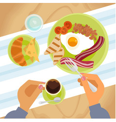 Person is eating breakfast vector