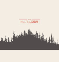 Pine forest background drawn sketch vector