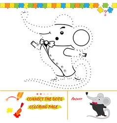 Puzzle for kids mouse character vector