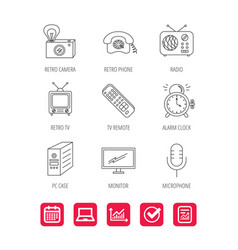 Retro camera radio and phone call icons vector