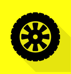 Road tire sign black icon with flat style shadow vector