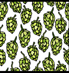 Seamless with hops beer pattern isolated on a vector