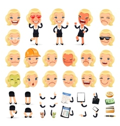 Set of Cartoon Businesswoman Character for Your vector image vector image