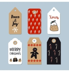 Set of cute christmas gift tags labels hand vector