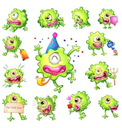 Set of green monsters vector