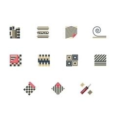 Set of linoleum services flat color icons vector