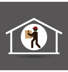 Silhouette delivery man heavy package vector