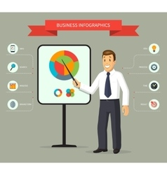 Smiling cartoon businessman giving a presentation vector image