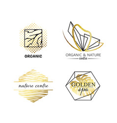 spa and beauty labels with geometrical shapes vector image vector image