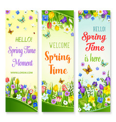 Spring flowers banners with greeting quotes vector