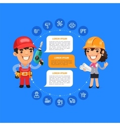 Team Working Cartoon Builders vector image vector image