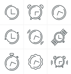 Time Clock Line Icons Set Design vector image vector image