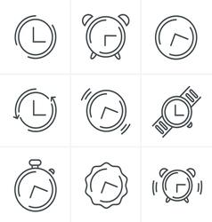 Time Clock Line Icons Set Design vector image