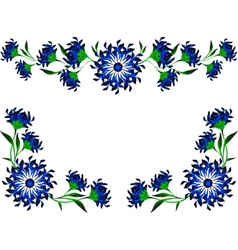 Vintage of blue flowers and leaves EPS10 vector image